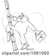 Royalty Free Vector Clip Art Illustration Of A Coloring Page Outline Of A Worker With His Leg Stuck In A Ladder