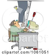 Royalty Free Vector Clip Art Illustration Of A Worker Climbing A Ladder And Dropping Tools Near A Secretary In An Office by djart