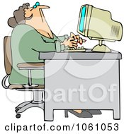 Royalty Free Vector Clip Art Illustration Of A Chubby Woman Looking Up Over Her Office Computer by djart