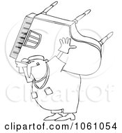 Royalty Free Vector Clip Art Illustration Of A Coloring Page Outline Of A Man Carrying And Moving A Piano by djart