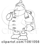 Coloring Page Outline Of A Man In Winter Clothes Sipping A Beverage