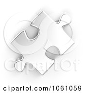 Royalty Free CGI Clip Art Illustration Of A 3d Silver Jigsaw Puzzle Piece