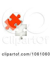 Royalty Free CGI Clip Art Illustration Of A 3d Red Jigsaw Puzzle Piece Next To A Hole by ShazamImages