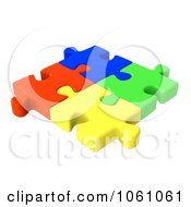 Poster, Art Print Of 3d Interlocked Colorful Jigsaw Puzzle Pieces
