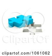 Royalty Free CGI Clip Art Illustration Of A 3d Blue Jigsaw Puzzle Piece By A Hole
