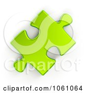Royalty Free CGI Clip Art Illustration Of A 3d Metallic Lime Green Jigsaw Puzzle Piece by ShazamImages #COLLC1061064-0133