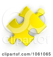Royalty Free CGI Clip Art Illustration Of A 3d Golden Jigsaw Puzzle Piece