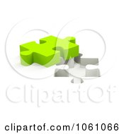 Royalty Free CGI Clip Art Illustration Of A 3d Lime Green Jigsaw Puzzle Piece By A Hole by ShazamImages