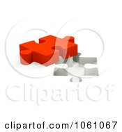 Royalty Free CGI Clip Art Illustration Of A 3d Red Jigsaw Puzzle Piece By A Hole by ShazamImages