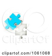 Royalty Free CGI Clip Art Illustration Of A 3d Blue Jigsaw Puzzle Piece Next To A Hole by ShazamImages