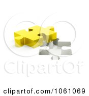 Royalty Free CGI Clip Art Illustration Of A 3d Golden Jigsaw Puzzle Piece By A Hole by ShazamImages