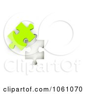 Royalty Free CGI Clip Art Illustration Of A 3d Lime Green Jigsaw Puzzle Piece Next To A Hole by ShazamImages