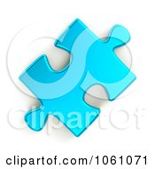 Royalty Free CGI Clip Art Illustration Of A 3d Metallic Blue Jigsaw Puzzle Piece