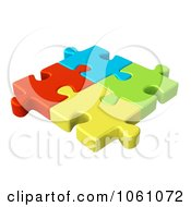 Royalty Free CGI Clip Art Illustration Of 3d Connected Colorful Jigsaw Puzzle Pieces by ShazamImages