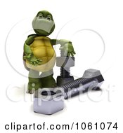 3d Tortoise With Bolts And Nuts Royalty Free CGI Clip Art Illustration
