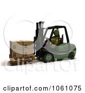 3d Tortoise Forklift Operator Moving Boxes Royalty Free CGI Clip Art Illustration