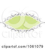 Green Frame With Ornate Black Swirl Borders Royalty Free Vector Clip Art Illustration