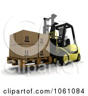 3d White Character Lifting Boxes On A Palette With A Forklift Royalty Free CGI Clip Art Illustration