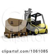 3d Forklift Moving Boxes Royalty Free CGI Clip Art Illustration