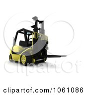 3d Yellow Forklift Royalty Free CGI Clip Art Illustration