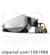 3d Forklift Loading Behind A Big Rig Royalty Free CGI Clip Art Illustration