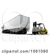 3d Forklift Parked Behind A Big Rig Royalty Free CGI Clip Art Illustration