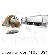 3d Big Rig Truck With A Computer Mouse Globe And Shipping Packages Royalty Free CGI Clip Art Illustration