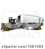 3d Robots Loading Boxes Into A Big Rig Truck Royalty Free CGI Clip Art Illustration
