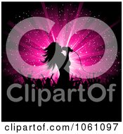 Silhouetted Female Singer Against A Pink Star Burst With Fans Royalty Free Vector Clip Art Illustration