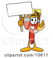 Clipart Picture Of A Paint Brush Mascot Cartoon Character Holding A Blank Sign by Toons4Biz