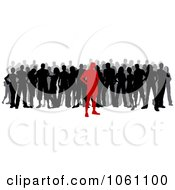 Red Silhouetted Person In Front Of A Crowd Royalty Free Vector Clip Art Illustration