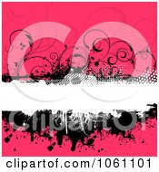 Grungy Black White And Pink Floral Background With Splatters Vines And Copyspace Royalty Free Vector Clip Art Illustration