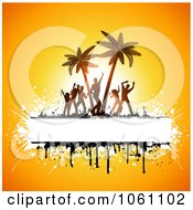 Silhouetted Beach Party Dancers And Palm Trees With Copyspace And Grunge On Yellow Royalty Free Vector Clip Art Illustration