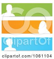 Digital Collage Of White Silhouetted Avatar And Halftone Website Banners Royalty Free Vector Clip Art Illustration