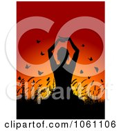 Silhouetted Yoga Woman With Plants And Butterflies Against A Sunset Royalty Free Vector Clip Art Illustration