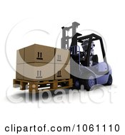 3d Robot Moving Boxes With A Forklift Royalty Free CGI Clip Art Illustration
