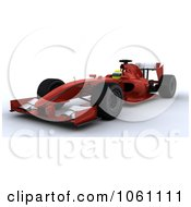 3d Formula One Race Car And Driver Royalty Free CGI Clip Art Illustration