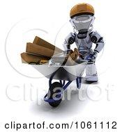 3d Robot Pushing Tools In A Wheelbarrow Royalty Free CGI Clip Art Illustration