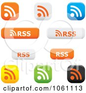 Royalty Free Vector Clip Art Illustration Of A Digital Collage Of Of 3d RSS Website Buttons