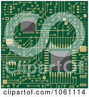 Royalty Free Vector Clip Art Illustration Of A Background Of A Green Circuit Board With Gold Connections 2 by Vector Tradition SM