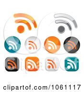 Royalty Free Vector Clip Art Illustration Of A Digital Collage Of Of 3d Shiny RSS Icons