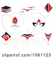 Royalty Free Vector Clip Art Illustration Of A Digital Collage Of Red And Black Logo Designs 14