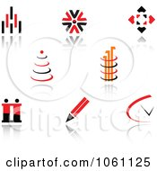 Royalty Free Vector Clip Art Illustration Of A Digital Collage Of Red And Black Logo Designs 2