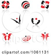 Royalty Free Vector Clip Art Illustration Of A Digital Collage Of Red And Black Logo Designs 10