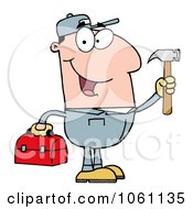 Clip Art Plumber Carrying A Tool Box And Hammer Royalty Free Vector Illustration by Hit Toon
