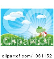 Clipart House And Tree In A Spring Landscape Royalty Free Heroine Vector Illustration