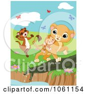 Clipart Weasel And Lion Saving A Drowning Monkey With Butterflies Royalty Free Heroine Vector Illustration