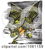 Flying Green Jabberwockey Dragon Woodcut Style