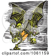 Royalty Free Vector Clip Art Illustration Of A Flying Green Jabberwockey Dragon Woodcut Style by xunantunich