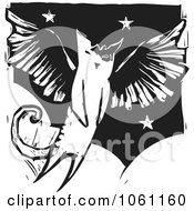Royalty Free Vector Clip Art Illustration Of A Flying Winged Angel Cat In Black And White Woodcut Style by xunantunich
